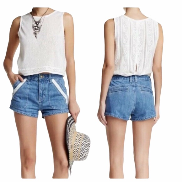 FREE PEOPLE SWEET SURRENDER LACE JEAN SHORTS